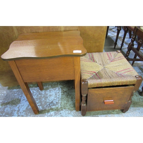 128 - Oak sewing box with lift up top and a string top stool with drawer to the base (2)