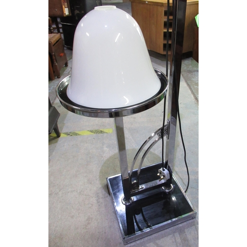136 - Art Deco chrome and ebonized floor lamp and table with opaque glass uplifter shade H165cm approx