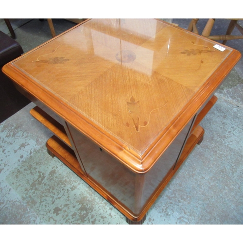 137 - Art deco walnut center combination coffee table with marquetry inlay detail to the top and inlay bev...