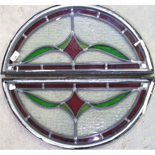 139 - Pair of double glazed D shaped stained glass panels W55cm L25cm
