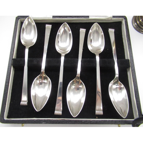 37 - Art Deco silver hallmarked sugar caster Birmingham, 1936, a set of six silver hallmarked coffee spoo...
