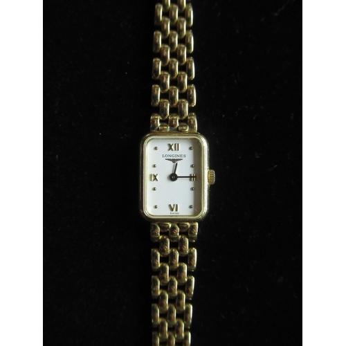 49 - Ladies Longines 18K quartz wristwatch rectangular gold case on tapering tear drop bracelet stamped 7...