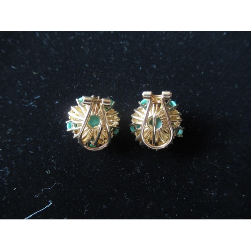 28 - Pair of 15ct gold and turquoise circular star/clip on earrings (1 missing stone) 8.3g