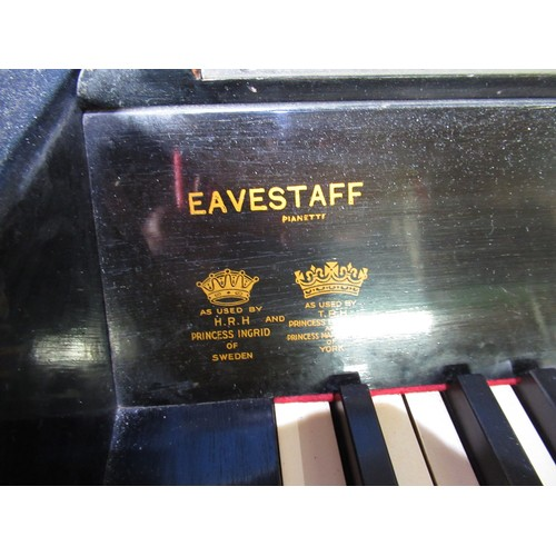 119 - Art deco ebonized Eavestaff minipiano with front chrome mounted electric lights and associated stool