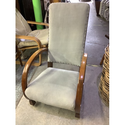 118 - Art deco oak framed rocking chair with upholstered seat and back