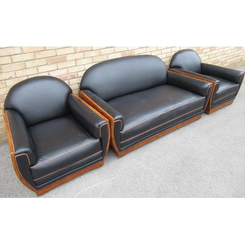 135 - Art deco Italian walnut framed three piece suite comprising of a two seater sofa and a pair of match...