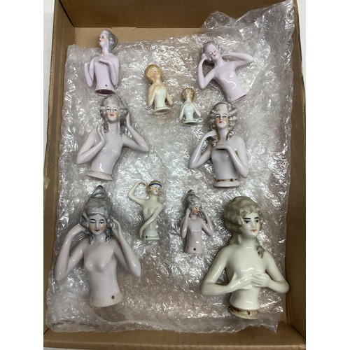 144 - Collection of 19th/20th C vintage pin cushion doll figures of various sizes and nude poses (10)
