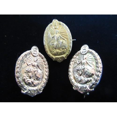 15 - Hallmarked 9ct gold badges depicting Zeus clutching lightening each with numerals: X, VL and XL stam...