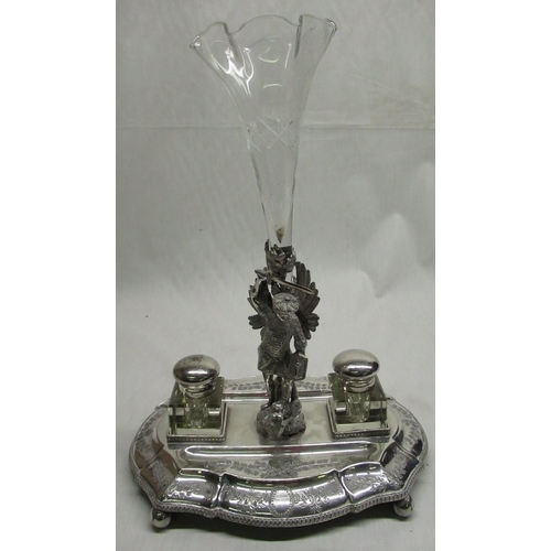 30 - Victorian EPNS ink stand, oval base with gadrooned border and central cast figure of a knight slayin...