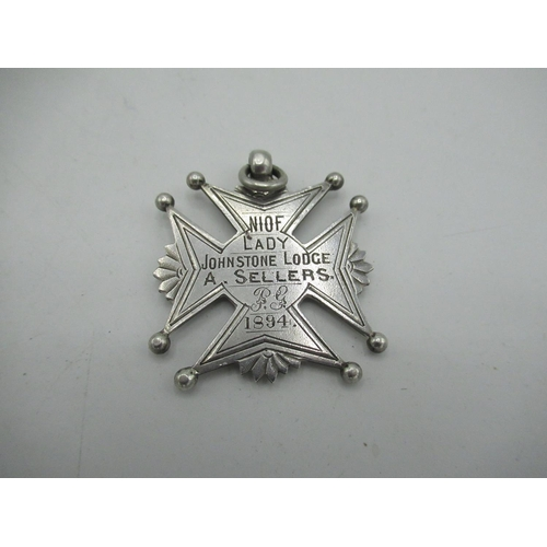 15 - Victorian Maltese cross Masonic jewel engraved with grip and NIOF Lady Johnstone Lodge, A.Sellers 18...