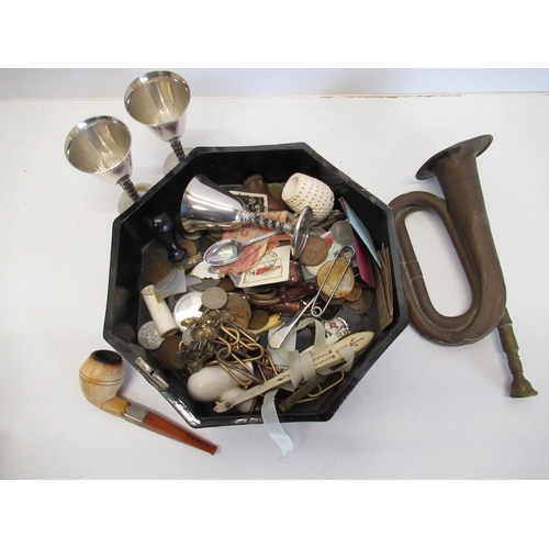 32 - Lacquered oak box containing assorted coinage, silver plated sherry cups, pipe, medallions, small bu...