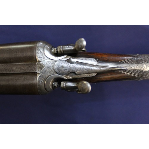 362 - Lyon & Lyon with association to J. Purdey side by side action hammer shotgun, 20B with fine engravin...