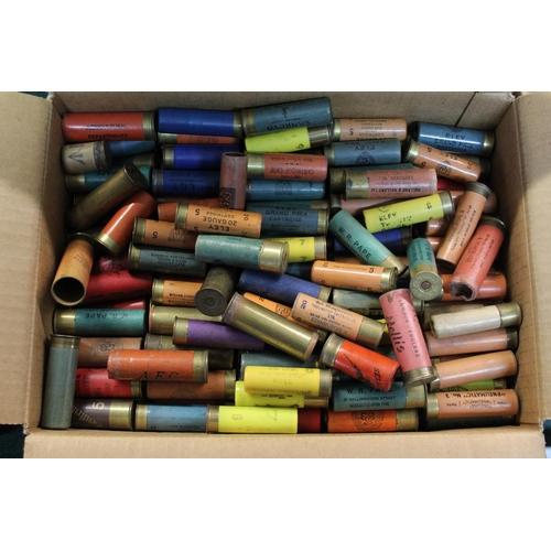 392 - Large collection of 20B and 12B shotgun cartridges, some empty, Kynoch Brass 12B, etc (shotgun certi...