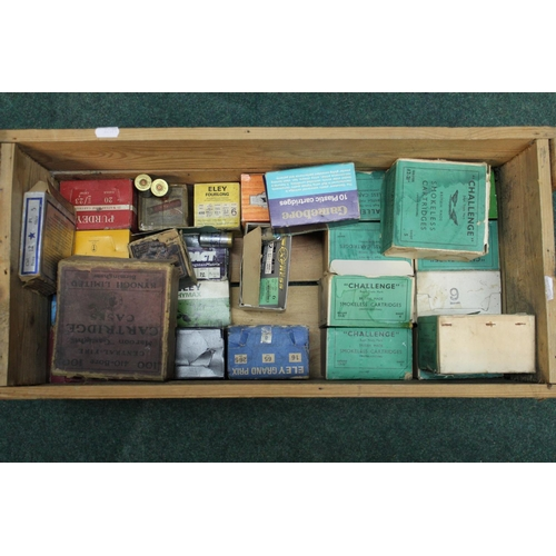 397 - Wooden military cartridge box containing a large collection of shotgun cartridges, of various calibr...