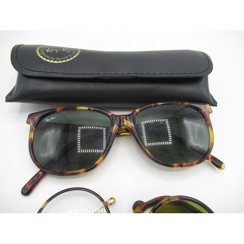 41 - Tortoiseshell Ray Bans, pair of green lens sunglasses and another pair of spectacles