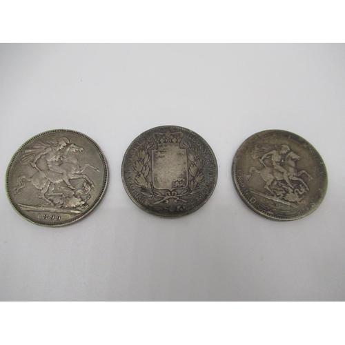 13 - Geo III Crown, Victorian bun head Crown 1845 and Jubilee Crown 1899 2.6ozt (3)