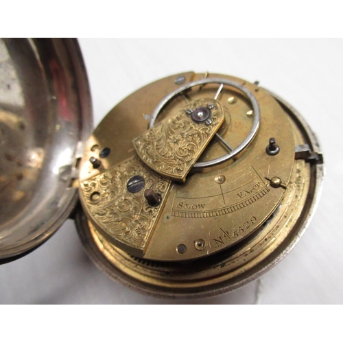 36 - Mid Victorian silver pair cased pocket watch (glass damaged), white enamel dial with Roman numerals ...