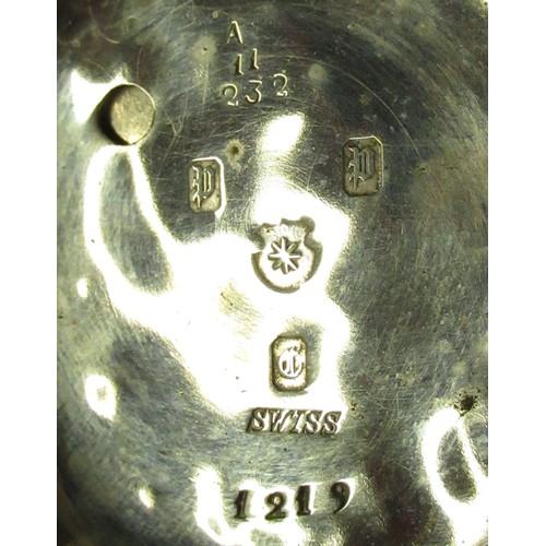 45 - Swiss key wound open faced pocket watch, movement no. 568129, and three keyless open faced pocket wa...