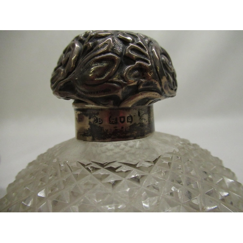 27 - Georgian silver sherry bottle ticket, early C20th dressing table jar with hobnail cut decoration and...