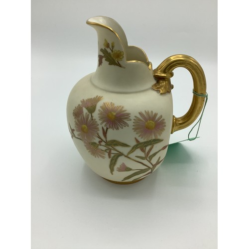 4 - Late Victorian Royal Worcester jug, reeded gilt handle and  blush ivory ground decorated with flower...