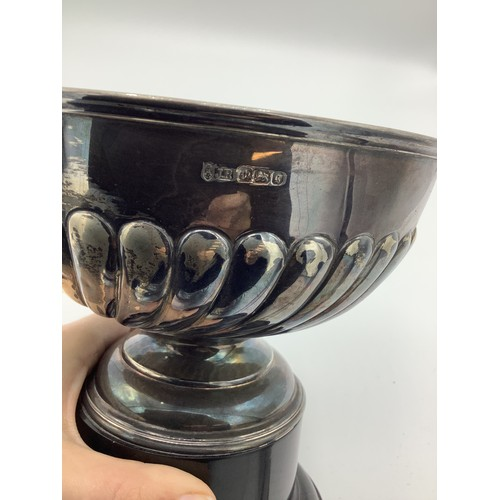 7 - Late Victorian silver presentation rose bowl, gadrooned body on circular stepped foot and Bakelite b...