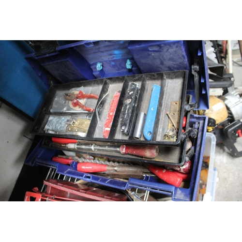31 - PLASTIC BLUE TOOLBOX AND CONTENTS