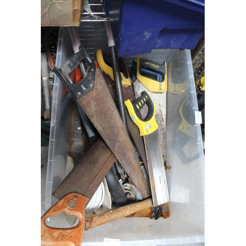 38 - LARGE BOX OF VINTAGE SAWS, HAMMERS AND CABLE