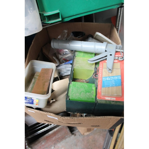 52 - LARGE BOX OF ASSORTED TOOLS, MINIATURE PLASTIC CABINETS ETC