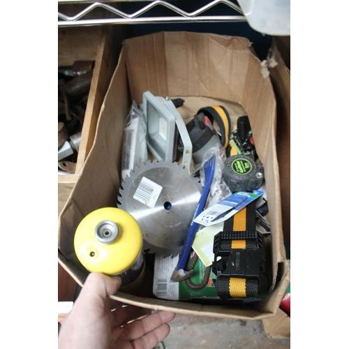 53 - BOX OF STRAPS, TAPE MEASURES, ETC