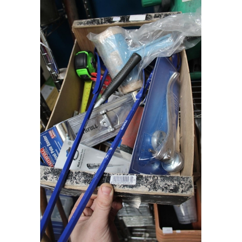 55 - BOX OF TAPE MEASURES, PLASTERING TOOLS ETC