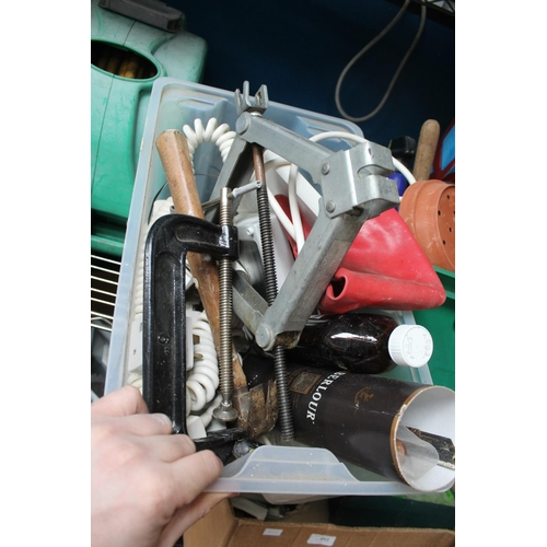 57 - PLASTIC BOX OF CLAMPS AND ELECTRICAL GOODS