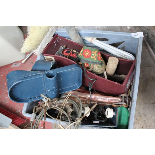 1 - BOX OF COW BELLS, TOOLS AND PETROL CAN ETC