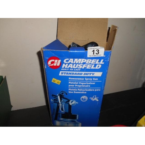 13 - Boxed Campbell and Hausfield spray gun...