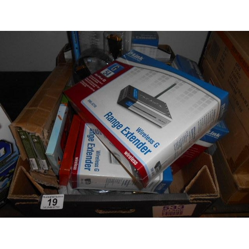 19 - Box of electricals including routers etc...