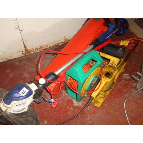 46 - Spear and Jackson strimmer/ blower, chainsaw and extension reel...
