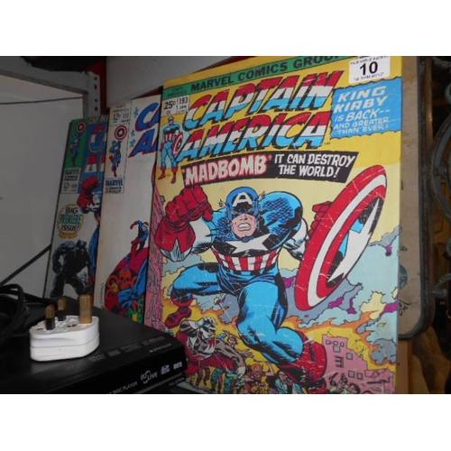 10 - 3 retro Captain America canvas's...