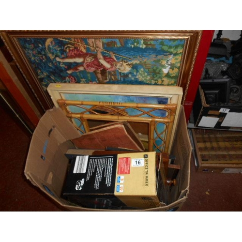 16 - Selection of vintage books, bric and paintings...