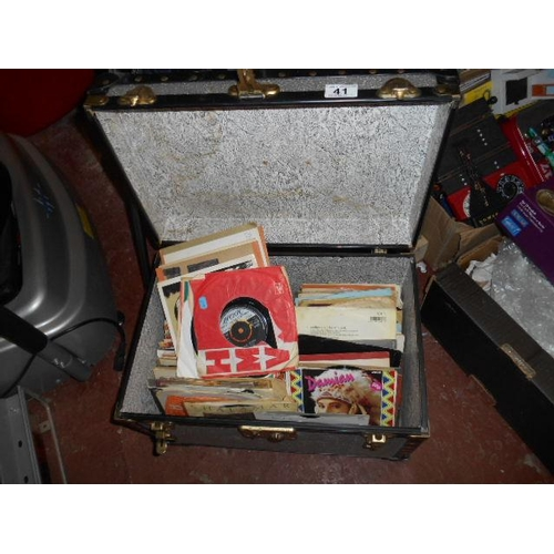 41 - Record carry case and 45s...