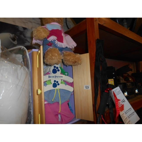 123 - Nice bear factory wardrobe with clothes and bear...
