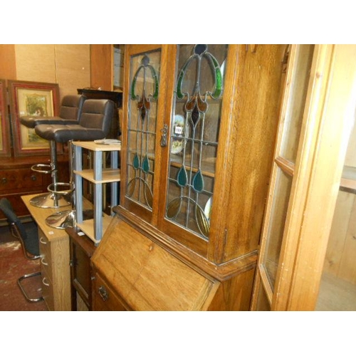 199 - Quality stain glass oak bureau bookcase...