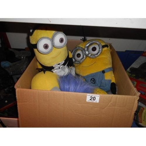 20 - Selection of as new Minion cuddly toys...