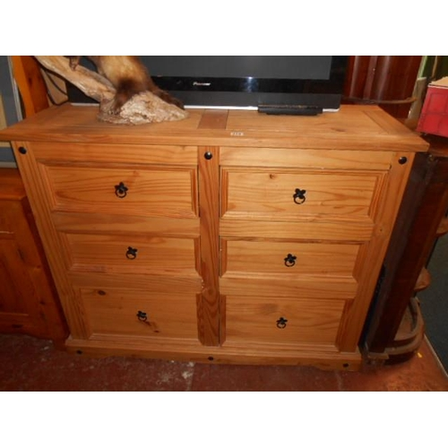 219 - Nice pine heavy 6 drawer chest...