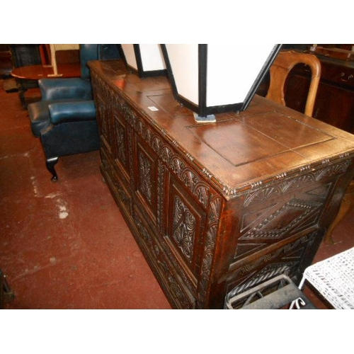 230 - Victorian oak carved large coffer...