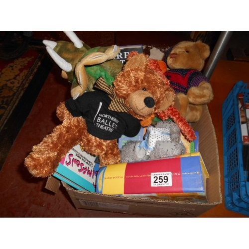 259 - Selection of cuddly toys and Harry Potter books...