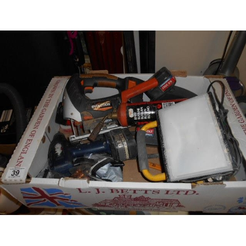 39 - Selection of misc power tools and light inc copper fittings ect...