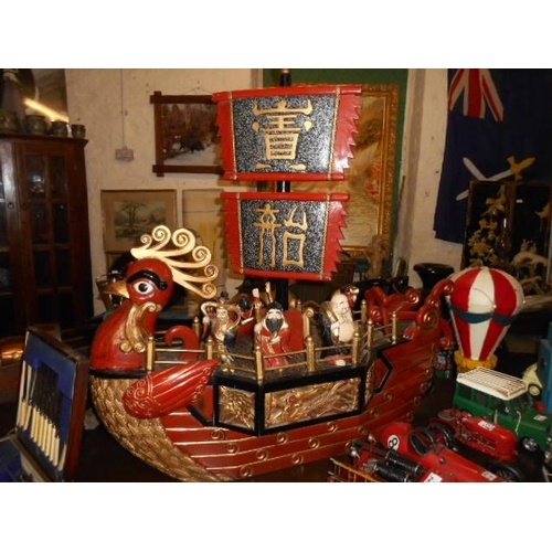 53 - Large wooden oriental Chinese warrior ship with figures...