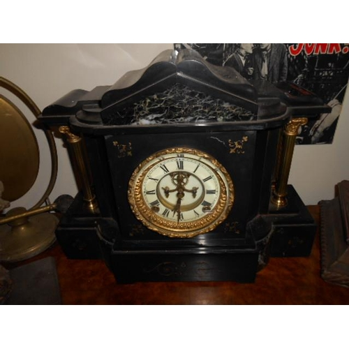 54 - French slate clock- working order...