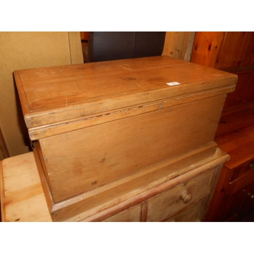 54 - Yellow pine fitted old chest...