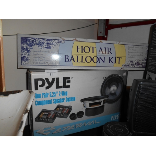 11 - Boxed Pyle car speakers and hot air balloon...