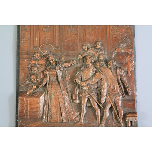 24 - Antique Repousse Copper Plaque. The plaque depicting an interior scene with a Queen conversing with ...